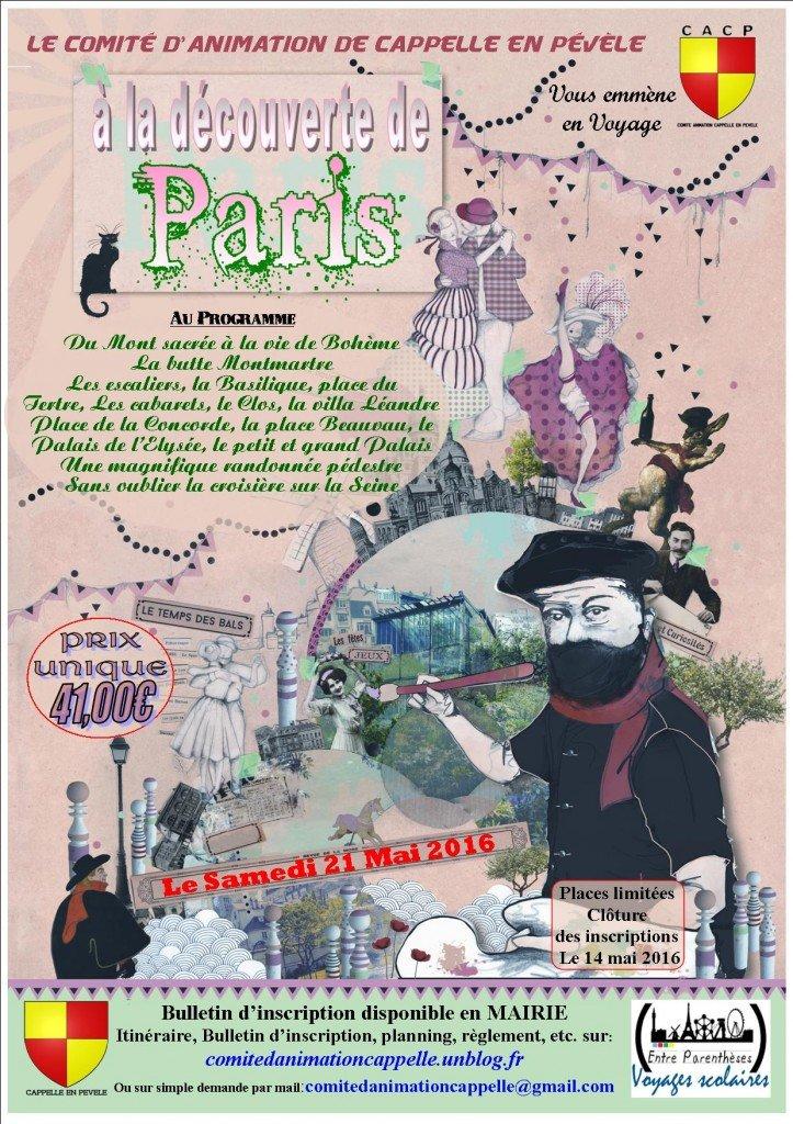 affiche voyage à paris en mai